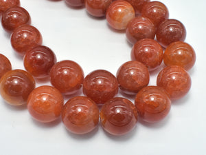 Red Dragon Vein Agate Beads, 16mm Faceted Round