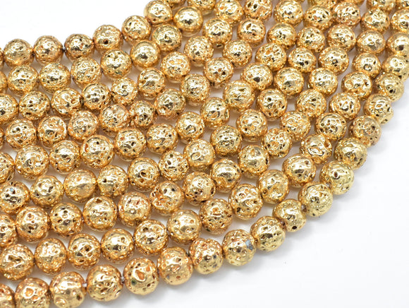 Lava-Gold Plated, 8mm (8.5mm) Round