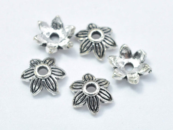 10pcs 925 Sterling Silver Bead Caps-Antique Silver, 7x2.4mm Flower Bead Caps-BeadBasic