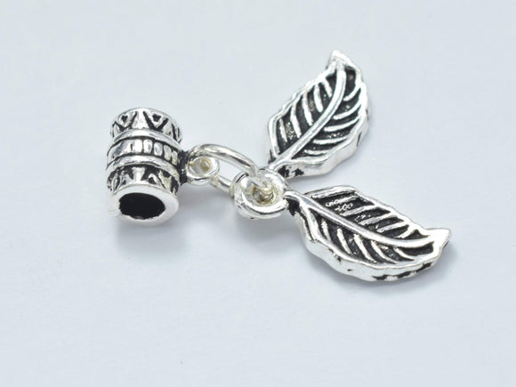 1pc 925 Sterling Silver Charm-Antique Silver, Leaf 6x14mm-BeadBasic