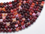 Banded Agate Beads, Red & White, 6mm Round-BeadBasic