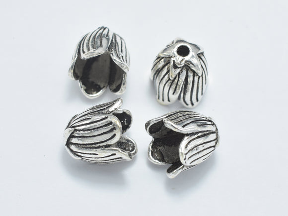 2pcs 925 Sterling Silver Bead Caps-Antique Silver, 8.5x8.5mm Flower Bead Caps-BeadBasic
