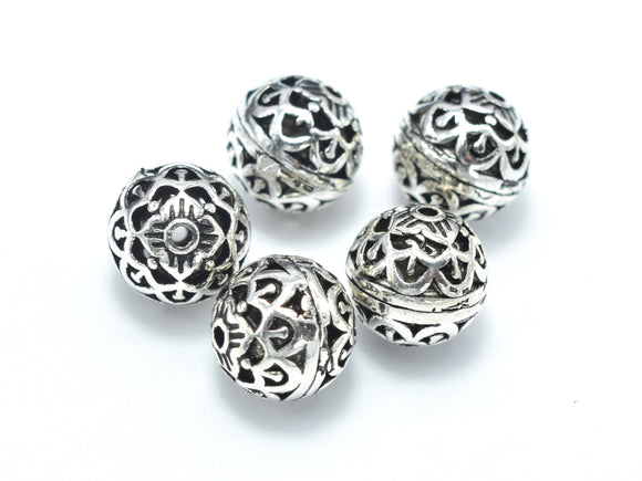 2pcs 925 Sterling Silver Beads-Antique Silver, 8mm Round Beads, Spacer Beads, Hole 1mm-BeadBasic