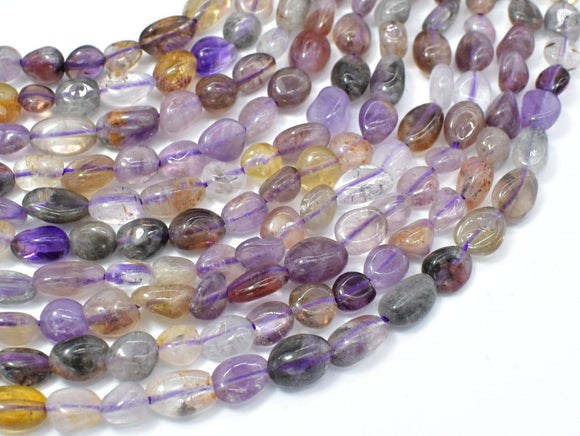 Super Seven Beads, Cacoxenite Amethyst, Approx 6x7mm Nugget Beads, 15.5 Inch