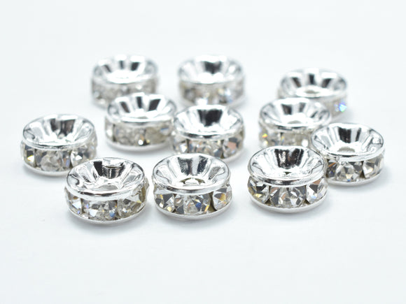 Rhinestone, 6mm, Finding Spacer Round,Clear,Silver plated Brass, 30pcs-BeadBasic
