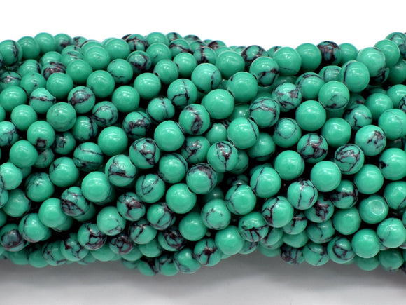 Howlite Turquoise Beads-Green, 4.5mm (5mm) Round Beads-BeadBasic