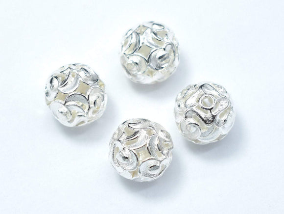10mm 925 Sterling Silver Beads, 10mm Round Beads, 2pcs-BeadBasic