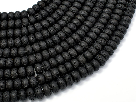 Black Lava Beads, 4x6mm Rondelle Beads