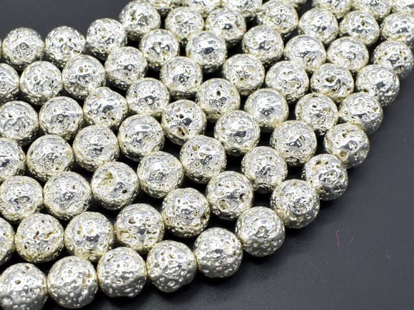 Lava-Silver Plated, 10mm (10.5mm) Round Beads-BeadBasic