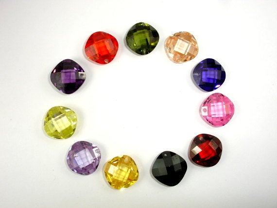CZ beads,14x14mm Faceted Cushion Pendant Beads-BeadBasic