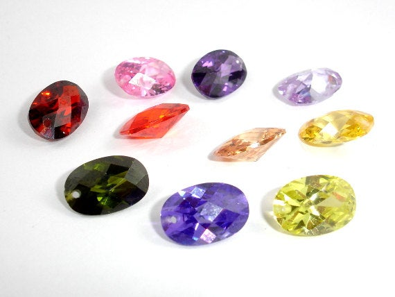 CZ beads, Faceted Oval Beads-BeadBasic