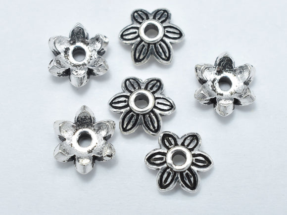 8pcs 925 Sterling Silver Bead Caps-Antique Silver-BeadBasic