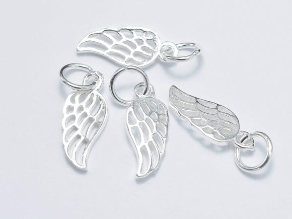 4pcs 925 Sterling Silver Charm, Angel Wing Charm, 6x15mm-BeadBasic