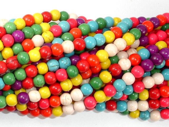 Howlite Beads, Multicolored, Round, 6mm-BeadBasic