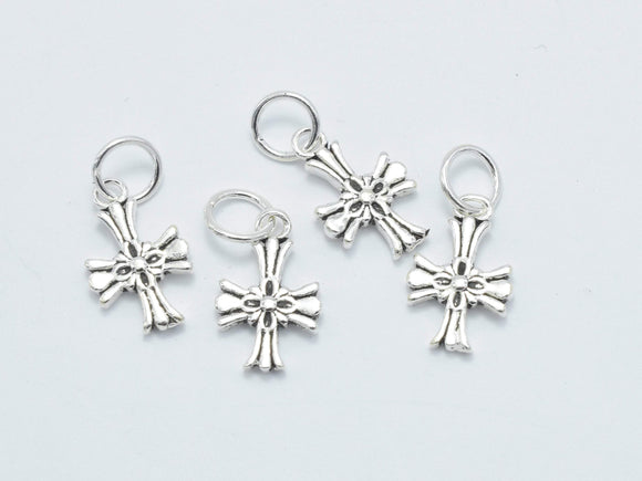 2pcs 925 Sterling Silver Charm-Antique Silver, Cross Charms