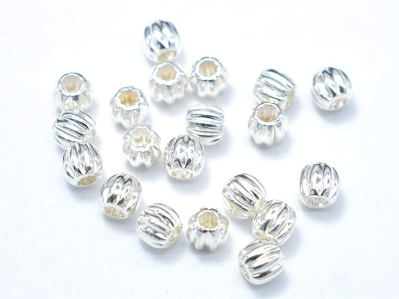 4mm 925 Sterling Silver Beads, 4mm Round Beads, 10pcs-BeadBasic
