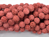 Red Lava Beads, 10mm Round Beads-BeadBasic
