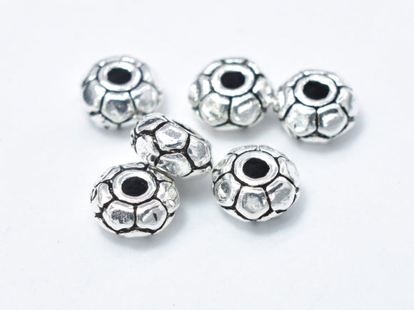 8pcs 925 Sterling Silver Beads-Antique Silver, 5mm Rondelle Beads, Spacer Beads, 5x2.4mm Hole 1.4mm