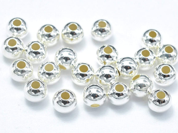 20pcs 925 Sterling Silver Beads, 4mm Round Beads-BeadBasic