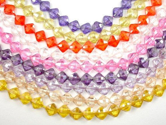 CZ beads, 6 x 6 mm Faceted Diamond Beads-BeadBasic