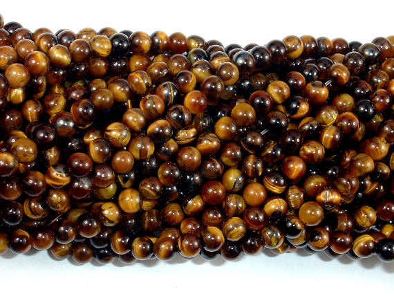 Tiger Eye, Round, 4mm (4.6 mm), 15.5 Inch
