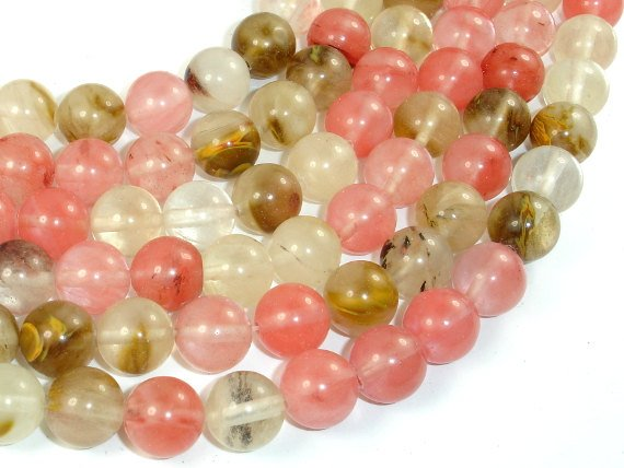 Fire Cherry Quartz Beads, 12mm, Round Beads-BeadBasic