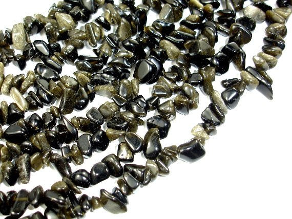 Golden Obsidian, Approx 4-10mm Chips Beads, 35 Inch, Long full strand