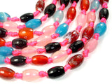 Agate Beads, Approx 8mm x 12mm Faceted Rice Beads, 14.5 Inch, Full strand
