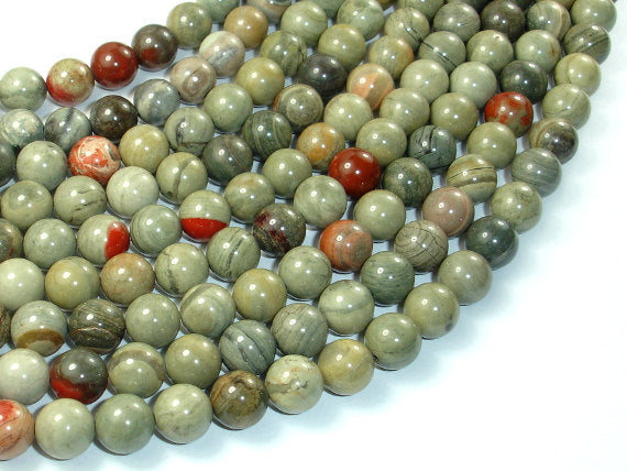 Silver Leaf Jasper Beads, 8mm Round Beads, 16 Inch, Full strand