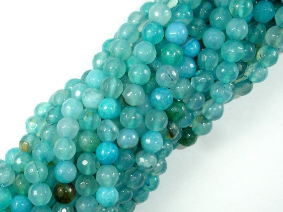Light Blue Agate Beads, 6mm Faceted Round Beads-BeadBasic