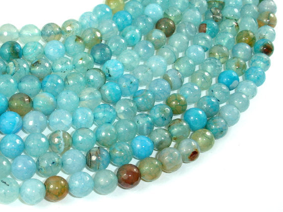Light Blue Dragon Vein Agate Beads, 8mm Faceted Round-BeadBasic