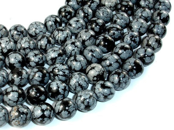 Snowflake Obsidian Beads, 12mm Round Beads, 16 Inch, Full strand