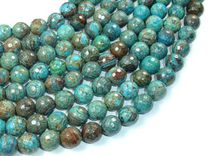 Blue Calsilica Jasper Beads, 10mm Faceted Round Beads-BeadBasic