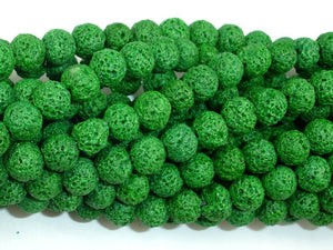 Green Lava Beads, Round, 8mm-BeadBasic