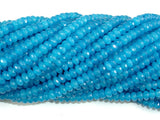 Blue Jade Beads, Faceted Rondelle, Approx 2 x 4 mm(2.5 x 4.2 mm), 15 Inch