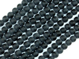 Matte Black Stone, 6mm Round Beads-BeadBasic