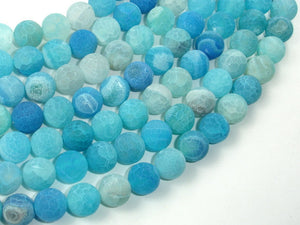 Frosted Matte Agate - Sea Blue, 10mm Round Beads-BeadBasic