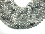 Gray Quartz Beads, 10mm Faceted Round Beads-BeadBasic