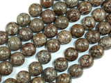 Brown Snowflake Obsidian Beads, 12mm Round Beads, 15.5 Inch, Full strand