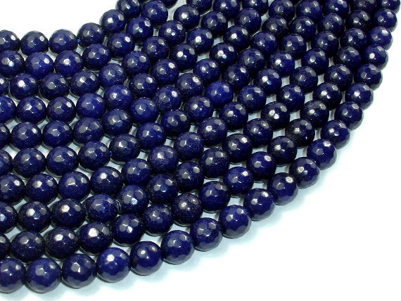 Dark Blue Jade Beads, 8mm Faceted Round Beads, 15.5 Inch, Full strand