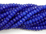 Dark Blue Jade, Approx 4 x 6mm Faceted Rondelle-BeadBasic