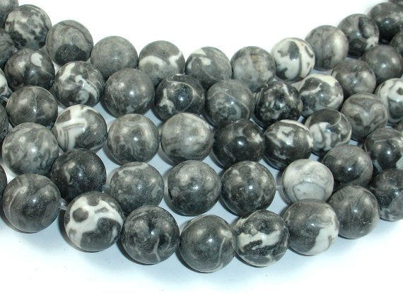 Black Fossil Jasper Beads, 14mm Round Beads, 15.5 Inch-BeadBasic