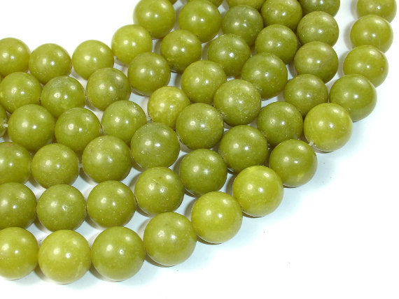 Olive Jade Beads, 12mm Round Beads-BeadBasic