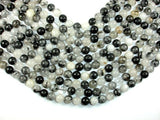 Black Rutilated Quartz Beads, 10mm Round Beads, 15.5 Inch, Full strand