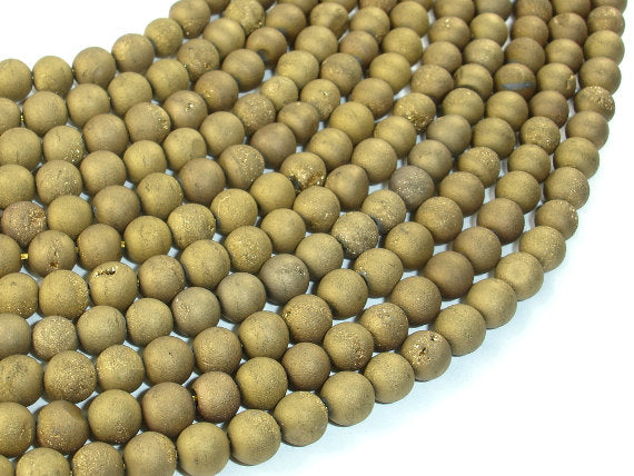 Druzy Agate Beads, Gold Geode Beads, 6mm(6.5 mm) Round Beads, 15.5 Inch