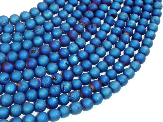 Druzy Agate Beads, Blue Geode Beads, 6mm (6.5 mm) Round Beads, 15 Inch