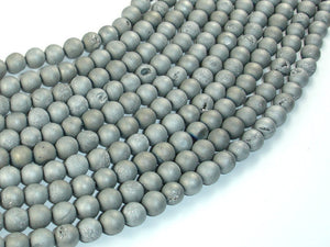Druzy Agate Beads, Silver Gray Geode Beads, 6mm (6.5 mm) Round Beads, 15.5 Inch