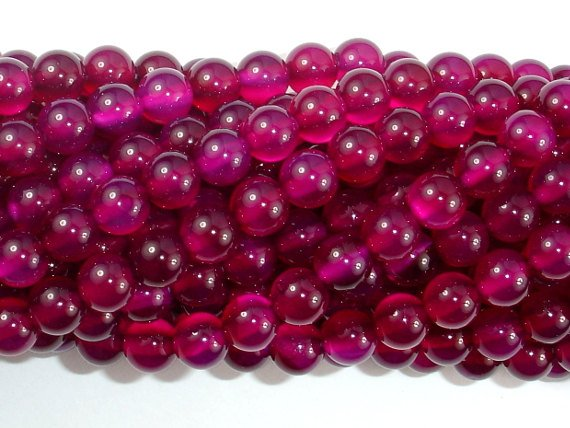 Fuchsia Agate Beads, 6mm Round Beads-BeadBasic