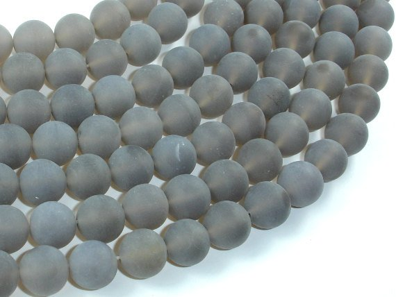 Matte Gray Agate Beads, 10mm Round Beads-BeadBasic