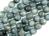 Hawk Eye, 12mm Faceted Round Beads-BeadBasic